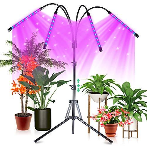 CrazCalf 100W Pflanzenlampe 120 LED Pflanzenlicht mit Stativ für Zimmerpflanzen Pflanzenleuchte Wachstumslampe Wachsen licht Vollspektrum mit Zeitschaltuhr 4/8/12H Stativ verstellbar 32-160cm