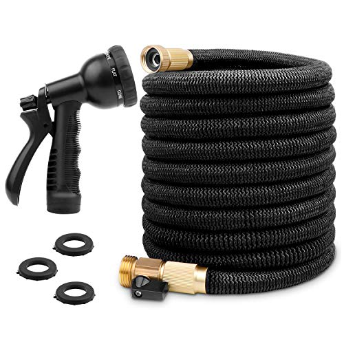 ANYEV Expandable Garden Hose, 50 Feet Water Hose with Double Latex Core, 3/4 Solid Brass Fittings, Extra Strength Fabric, Flexible Gardening Hose with 8 Function Spray Nozzle