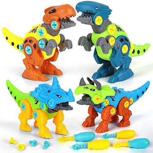 BeebeeRun Dinosaurios Juguetes para niños 4 5 6 7 años,Desmontar Dinosaurios Construccion Juguetes con Taladro,Juguete Educativo Stem Regalo Niño Niña (4 PCS)