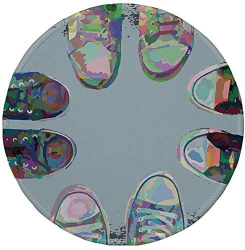 Rutschfreies Gummi-rundes Mauspad modernes Dekor Teen Rubber Rebel Rocker-Schuhe in Street Squad Friends Gang Abstraktes Bild mehrfarbig 7,87 'x 7,87' x3 mm