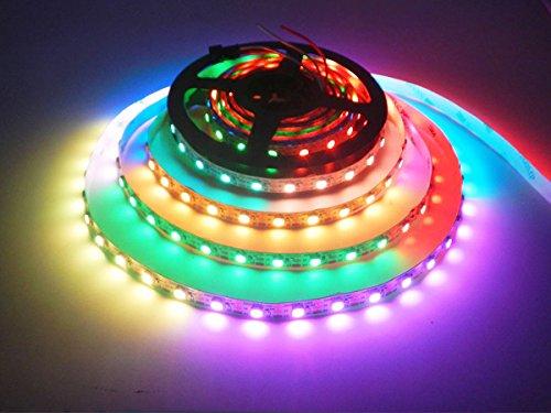 WS2812B Luz de tira llevada, Dream Color 16.4FT / 5M 150/300 píxeles 30/60leds / M individualmente direccionable Luz de cuerda digital, DC 5V No resistente al agua LED Ribon Light (5M-WS2812B-60-NP)