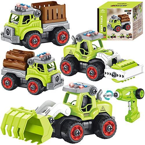 Tacobear 4 in 1 Vehiculos de Granja Juguete teledirigido Tractor Juguete Desmontar Excavador Juguete con Música Ligero Función Ensamblar Vehículos de Juguete Stem Regalo para Niño 4 5 6 7 8 años