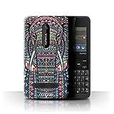 Stuff4® Hülle/Hülle für Nokia Asha 210 / Elefant-Farbe Muster/Aztec Tier Muster Kollektion
