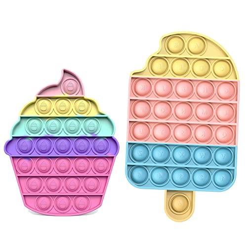 Bubble Fidget Toy Sensoriale, Antistress per Esigenze Speciali di Autismo | Giocattoli per Alleviare l'ansia, estrusione per Adulti e Bambini (Gelato + Cupcake2)