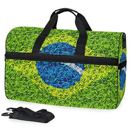Montoj, borsone da viaggio con bandiera del Brasile, taglia unica, con cinghia regolabile