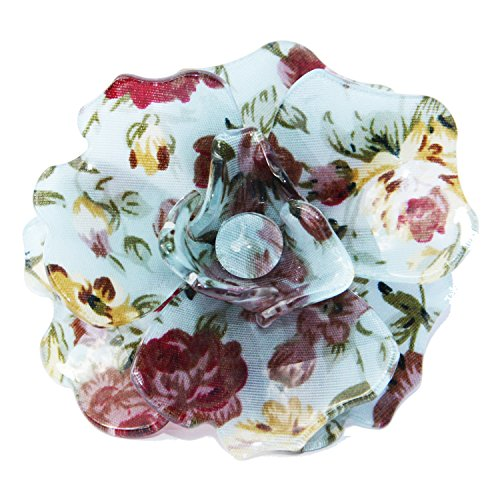 Broche de la flor grande 3 con estampado floral en la acrílico brillante. Accesorio muy hermosa.