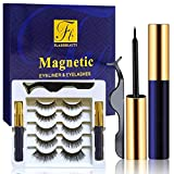 Magnetic Eyeliner Waterproof 2Pc+Magnetic Eyelashes 5 Pairs, Magnetic Eyelash Kit With Reusable Magnetic Lashes And Tweezers For False Eyelashes Easy TO Apply - lashes for women