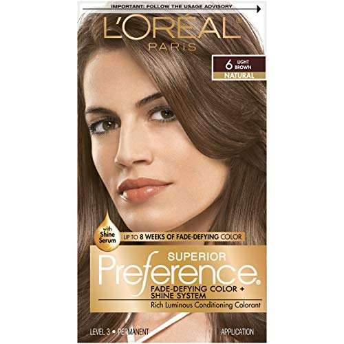 L'Oreal Paris Superior Preference Fade-Defying + Shine Permanent Hair Color, 6 Light Brown, Pack of 1, Hair Dye