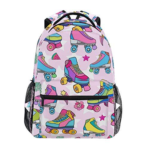 QMIN Rucksack mit buntem Rollschuh-Muster, Schulbüchertasche, Reise, College, Tagesrucksack, Laptop, Reißverschluss, Wandern, Camping, Schultertasche, Organizer für Jungen, Mädchen, Damen, Herren