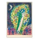VCFHU Marc Chagall Famoso Lienzo Pintura Al óLeo Pareja En Las Mimosas Arte De La Pared Surrealismo Poster Impresiones Inicio Decoracion De La Salon De Estar Cuadros 50x70cm Sin Marco
