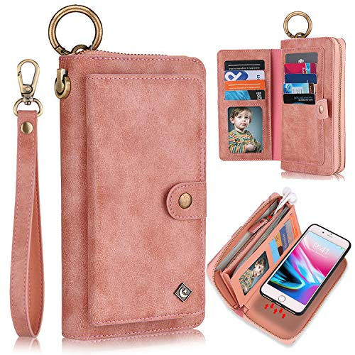"XRPow Wallet Case iPhone 8 Plus/iPhone 7 Plus 5.5"" [2 in 1] Magnetic Detachable Wallet Case [Vegan Leather] Zipper Clutch Folio Flip Card Solt [Wrist Strap] Purse Protection Back Cover - Rose Gold"