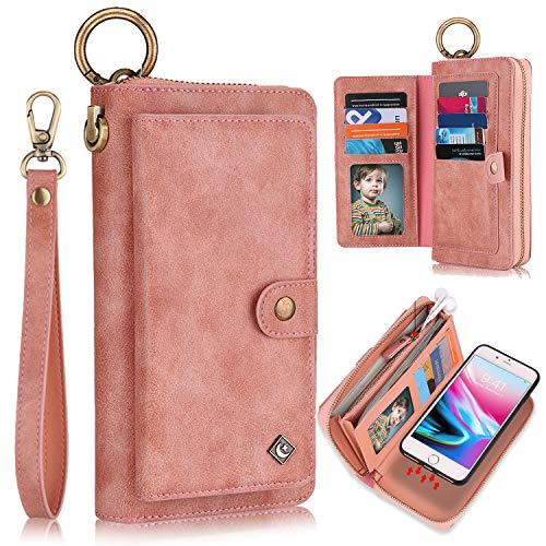 XRPow Wallet Case iPhone 8 Plus/iPhone 7 Plus 5.5' [2 in 1] Magnetic Detachable Wallet Case [Vegan Leather] Zipper Clutch Folio Flip Card Solt [Wrist Strap] Purse Protection Back Cover - Rose Gold