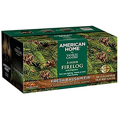 Pine Mountain American Home by Yankee Candle 3- Hour Firelogs, 4 Count Balsam Fir Scented Logs (4152501384) Long Burning Scented Firelog for Campfire, Fireplace, Fire Pit, Indoor & Outdoor Use