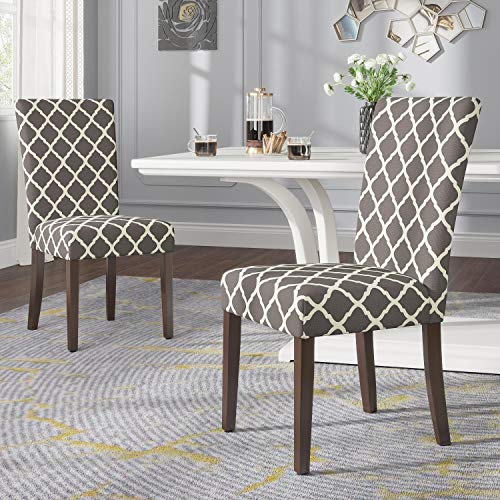 JustRoomy Classic Upholstered Accent Dining Chair Fabric Modern High Back Dining Chairs with Solid Wood Legs Armless Side Chairs for Kitchen Living Room Lounge Set of 2, Grey and Cream Geometric