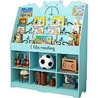 本棚多層環境に優しい床の子供の本棚読書角度絵本ディスプレイスタンド100 X 28 X 120 cm(白、緑、ピンク、青オプション)&&(色:青)