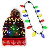 Christmas Holiday LED Light-up Bulb Necklace (12 Bulbs) with LED Light-up Knitted Ugly Sweater Holiday Christmas Beanie
