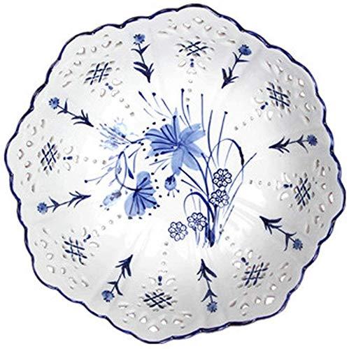 ZHA JIAN 10 pouces Plate style chinois de fruits en céramique creux Plateau de fruits Compote Creative Salon Café Décoration de table Accueil Fruit Basket Bowl