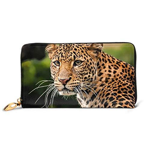 JHGFG Moda Bolso Cremallera Cartera Retrato Javan Leopard Teléfono Embrague Monedero Embrague...