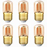 Mini bombilla LED tubular, 1W T28 Edison Bombilla de filamento LED E27 Base de tornillo 2200K Bombilla de luz blanca súper cálida para decorativos no regulables (vidrio ámbar) Paquete de 6