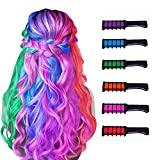 New Hair Chalk Comb Temporary Hair Color Dye for Girls Kids, Washable Hair Chalk for Girls Age 4 5 6 7 8 9 10 New Year Birthday Party Cosplay DIY Children's Day, Halloween, Christmas,6 Colors