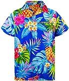 King Kameha Funky Hawaiian Shirt, Shortsleeve, Pineapple, Blue, L