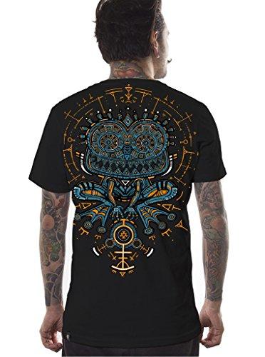 Herren Psychodelisches T-Shirt Psycho Kröte Grafik Psi Trance Hypnotisch Druck Schwarz Oberteil L