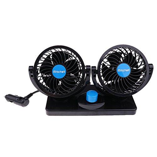 PETSOLA Ventilador de Aire Acondicionado de 2 Velocidades Portátil para Camión de Coche Giratorio de 360 grados de 12V