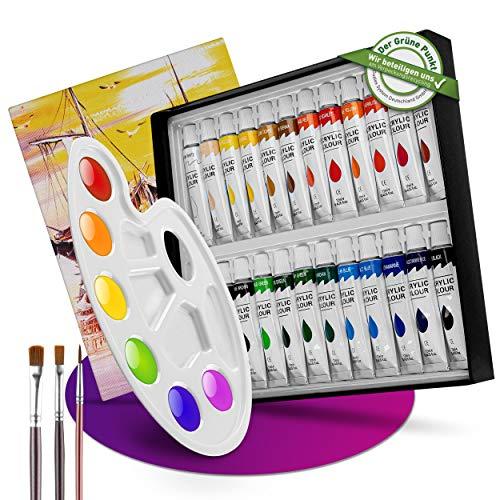 GOREKI - Acrylfarbenset - 24 Farben - Künstlerfarbe wasserfest für Stoff, Holz, Stein, Keramik - mit 3 Künstlerpinseln, Mischpalette & Leinwand für Anfänger&Kinder