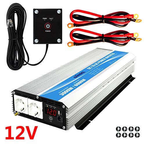 Wechselrichter 3000W 12v auf 230v Spannungswandler Konverter mit Fernbedienung & LED-Anzeige 2 AC Verkaufsstellen & USB-Anschluss für Wohnmobil LKW PKW Giandel