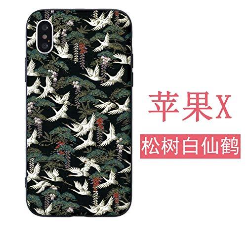 Mobiele telefoonhoes, Apple telefoonhoes, zachte schaal, siliconen hoes, vrouwelijk zwart all-inclusive reliëf en Fengxianhe art stijl, Apple X [soft shell] pine white crane