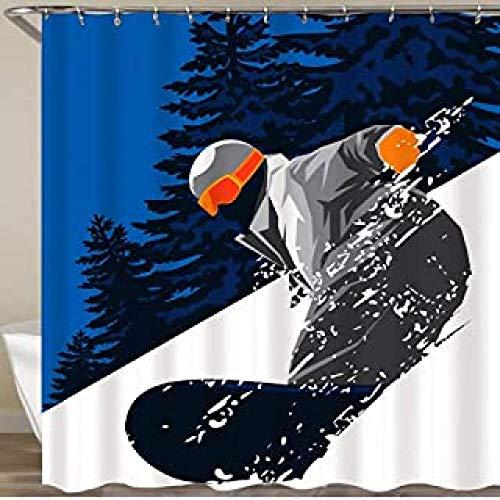 DAMCOK Decoración de baño Cortina de Ducha Patrón de esquí en Blanco Pequeño Aislado en números Esquiador Ocio Deportes Textura Hielo sin costuras-W90cmxH180cm
