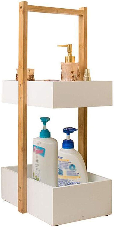 Bathroom Shelf Crevice Storage Rack 2 Tier Multifunction Floor-Standing Bamboo Kitchen Bedroom Living Room