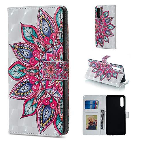 BestCatgift Galaxy A7 (8) PU Leather Folio Flip Cover [3D Relief Pattern ][Kickstand] para Samsung A7 SM-A750 Magnetic Wallet Funda - Half Flower