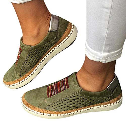 Walking Shoes for Women Slip Ons,Slip On Fashion Sneakers Tassel Casual Canvas Laceless Low Top Loafers Vintage Flat Walking Shoes Green