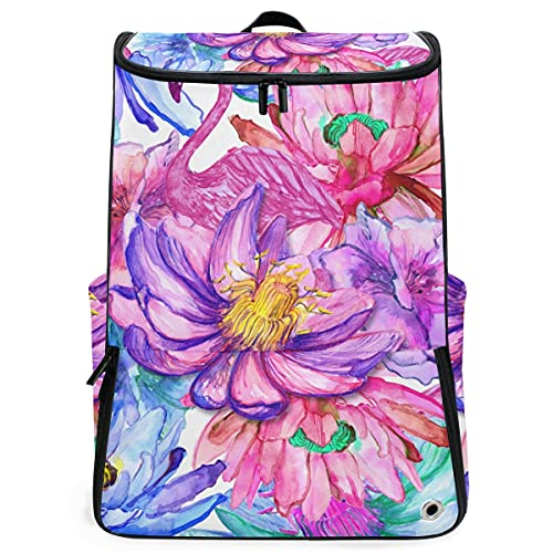 YUDILINSA Zaini da viaggio,Fiori tropicali dell'acquerello colorato fenicotteri rosa,grande capacità,borsa per studenti Scuola,escursionismo,zaino da palestra con scomparto per scarpe