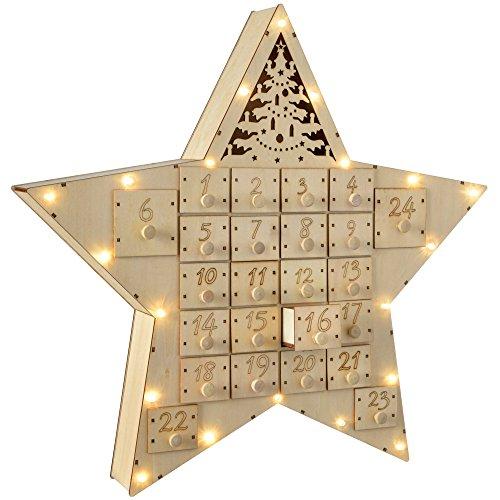 WeRChristmas Calendrier de l'Avent étoile décoration de Noël, en Bois, Multicolore, 43 cm