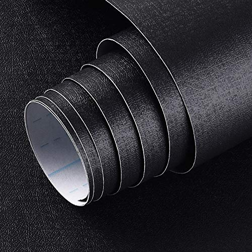 Black Contact Paper 17.71In×32.8Ft Durable Black Peel and Stick Wallpaper Removable Self-Adhesive Decorative Film Roll Easy to Apply