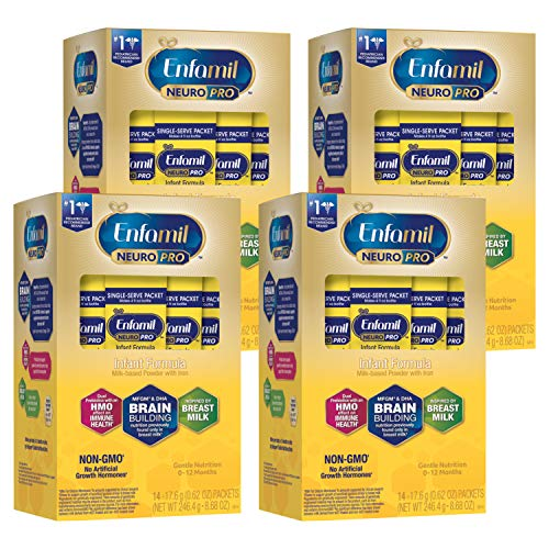 Enfamil NeuroPro Infant Formula Powder Single Serve Packets, Brain and Immune Support with DHA, Iron and Prebiotics, Inspired by Breast Milk, 0.62 Oz packets, 14 count (Pack of 4), Total 56 packets