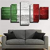 BTCA 5 Piezas Modernos Mural Bandera de Madera Italia Cuadro en Lienzo,impresión artística,único,Pasillo Decor Pared Cuadro Carteles Innovador