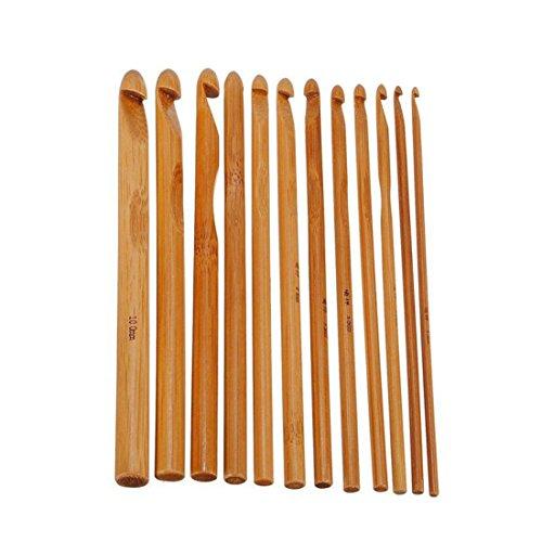 12Pcs 12 Größen Bambus Häkelhaken Stricknadeln Stricken Handwerk Set
