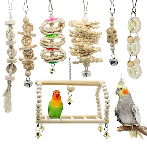 GingerUP 7 Packs Bird Toy Bird Parrot Swing Chewing Toys- Natural Wood Hanging Bell Bird Cage Toys Suitable for Small Parakeets, Cockatiels, Conures, Finches,Budgie,Macaws, Parrots, Love Birds