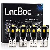 LncBoc T10 Canbus LED Ampoules de Voiture Lampe 9-2835 Chipset W5W Jaune Ampoules de Remplacement à Inversion pour Lumière Dôme Carte Côté Feux de Plaque d'Immatriculation 4PCS