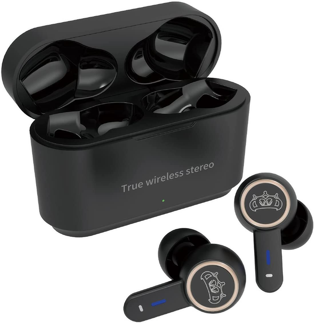 YYJY S16 True Wireless Earbuds Bluetooth Headphones Touch Control with Wireless Nosie Cancelling IPX8 Waterproof Stereo Earphones in-Ear Built-in Mic Headsets Premium Deep Bass for Sports Black