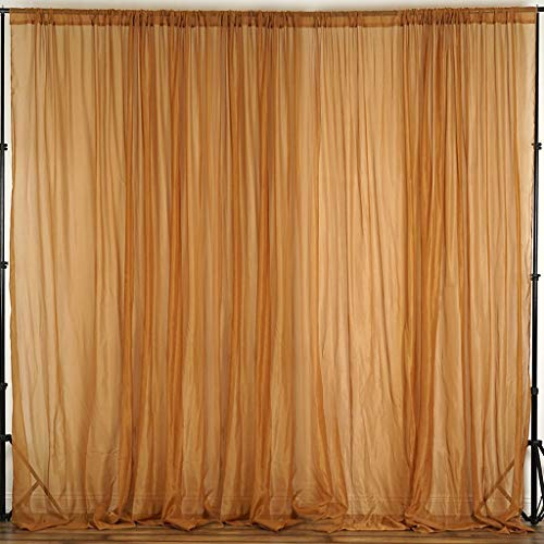 Efavormart 10FT Fire Retardant Gold Sheer Voil Curtain Panel Backdrop for Window Wall Decoration - Premium Collection