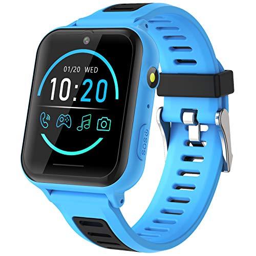 Smartwatch Kinder - Telefon Uhr für Kinder mit SOS 14 Spiele Musik Kamera Wecker Stoppuhr Kalender Rechner Taschenlampe, Kinder Smartwatch Telefon Geschenke für Jungen und Mädchen (Blau)
