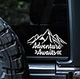 Sunset Graphics & Decals Adventure Awaits Decal Vinyl Car Sticker Hiking Camping Mountains Outdoors   Cars Trucks Vans Walls Computer Cooler Laptop   White   7 inches   SGD000191