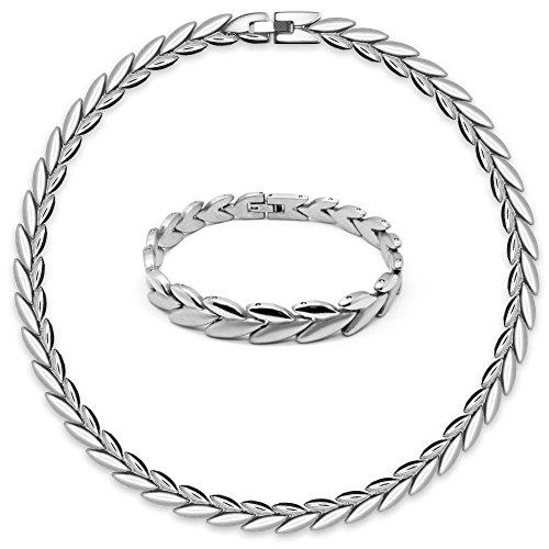 SoulCats® Elegantes Set Edelstahl Collier und Armband Silber matt glänzend