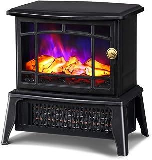 ミニ自立型暖炉、ウッドバーニングLEDフレームライトエフェクト付きヴィンテージ電気ストーブヒーター、屋内ヒーター理想的な家電、金属フレーム、1500W、22.8 15.4 25.6Cm、ブラック