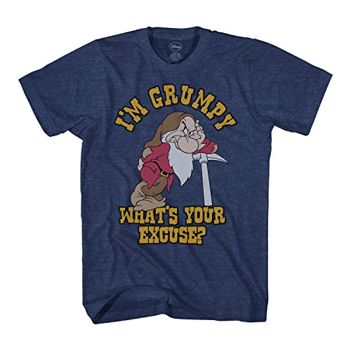 Disney I'm Grumpy Dwarf Snow White Mens T-Shirt (Heather Navy, Large)