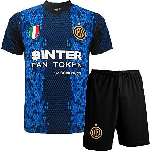 BrolloGroup Completo Calcio Inter Personalizzato Maglietta e Pantaloncino FC Internazionale Personalizzabile con Nome e NumeroPS 40512